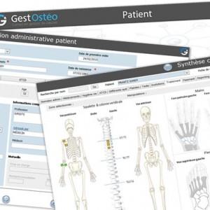 logiciel ostéopathes GestOstéo Patient PRO copie écran fiches consultation et traitement squelette